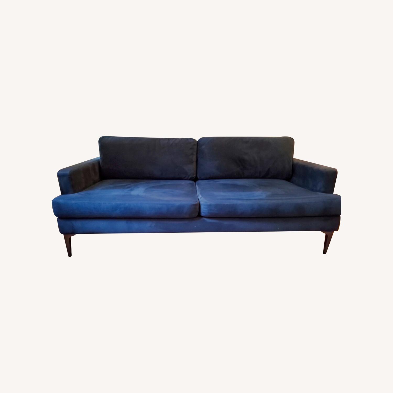 West Elm Andes Navy Velvet Sofa - image-0