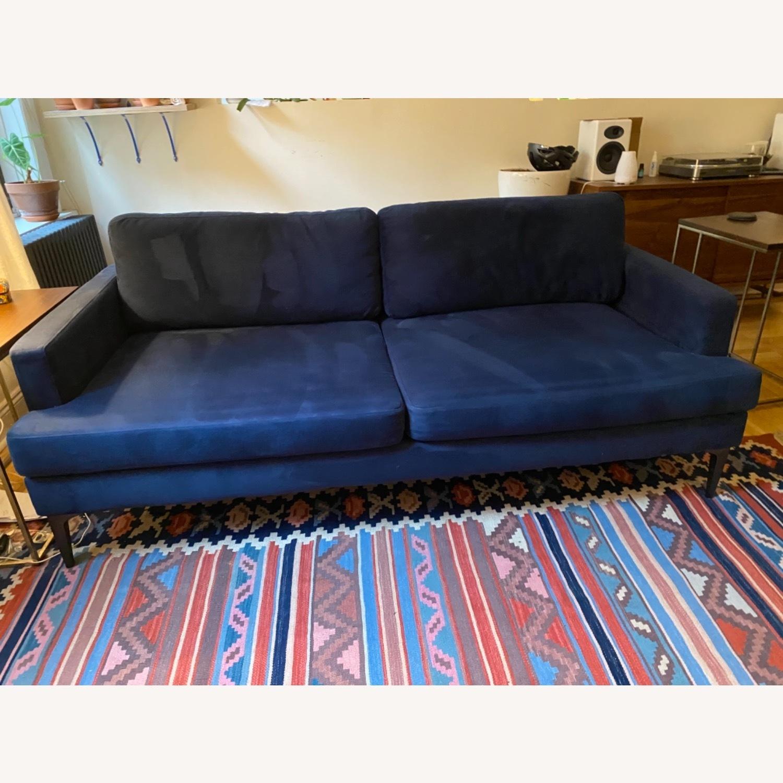 West Elm Andes Navy Velvet Sofa - image-3