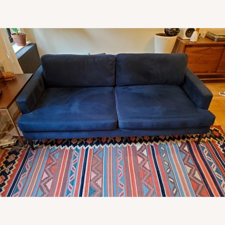 West Elm Andes Navy Velvet Sofa - image-1