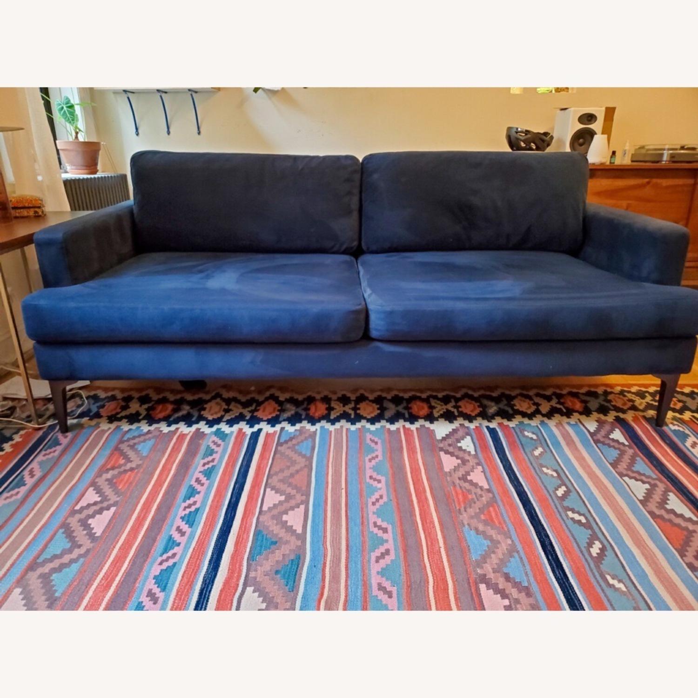 West Elm Andes Navy Velvet Sofa - image-4