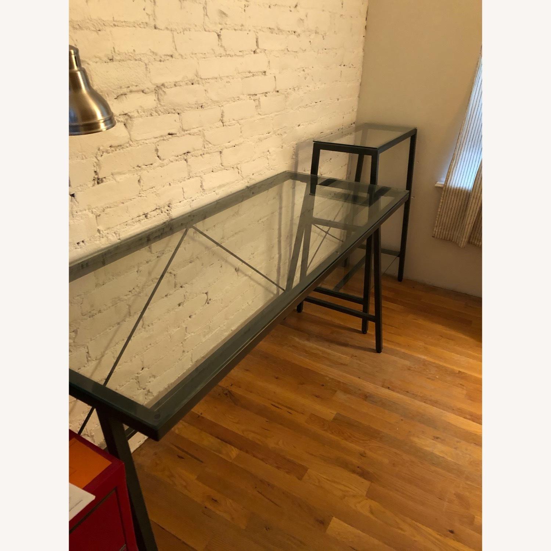 CB2 Glass & Metal Desk - image-1