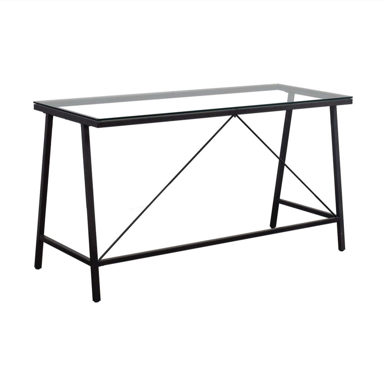 CB2 Glass & Metal Desk - image-0