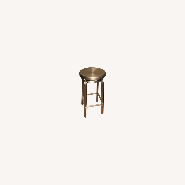 Crate & Barrel Spin Swivel Backless Bar Stool - image-0