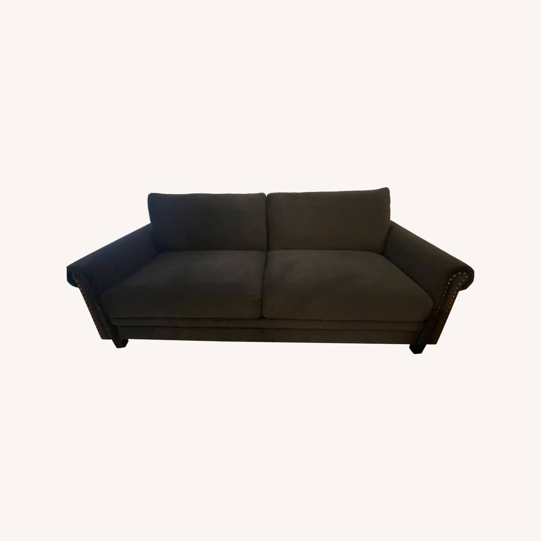 Wayfair Tenny Microsuede Dark Grey Sofa - image-0