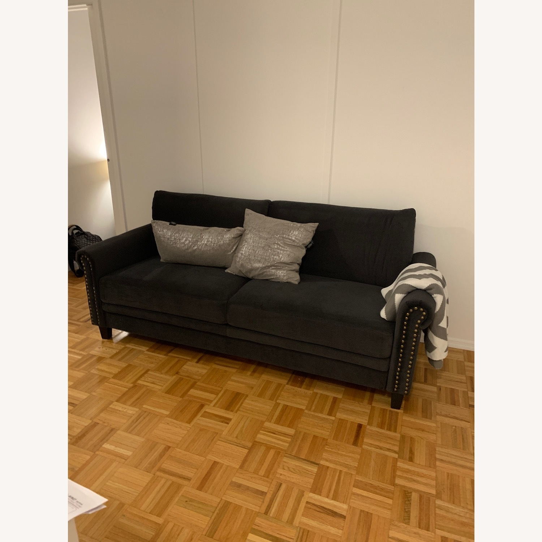 Wayfair Tenny Microsuede Dark Grey Sofa - image-5