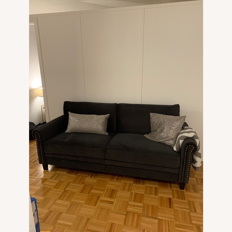 Wayfair Tenny Microsuede Dark Grey Sofa - image-4