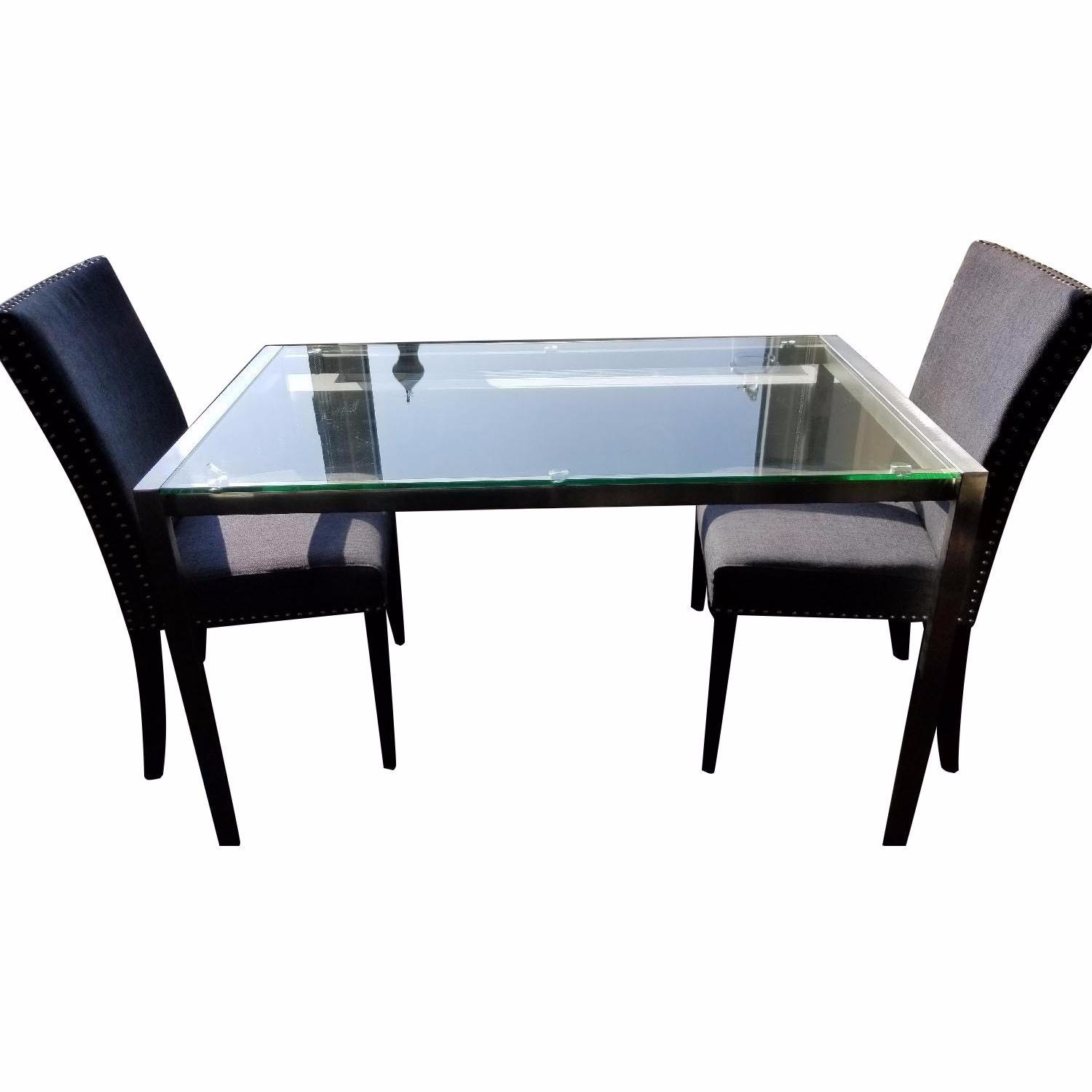 Baxton Studio Glass Desk or Dining Table w 2 Gray Chairs - image-4
