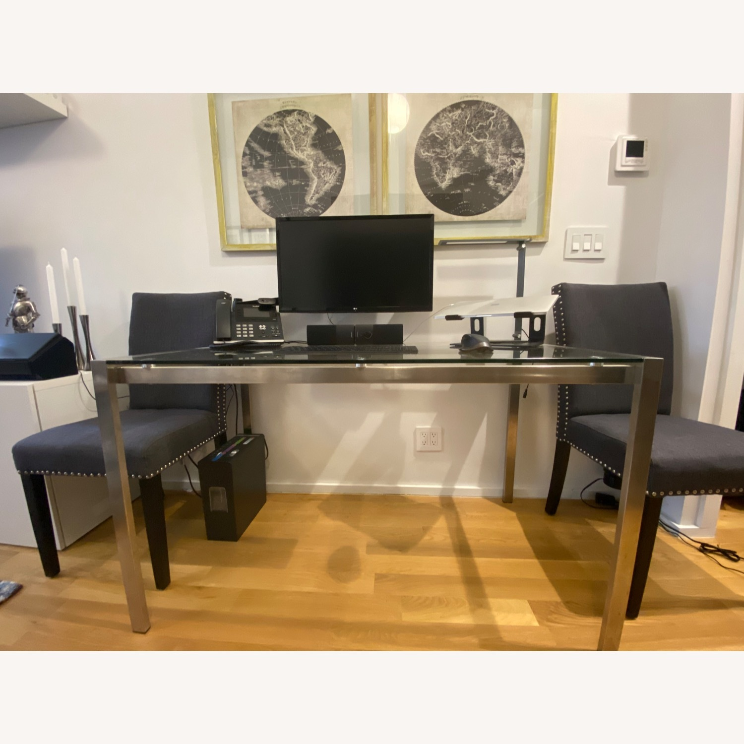 Baxton Studio Glass Desk or Dining Table w 2 Gray Chairs - image-1