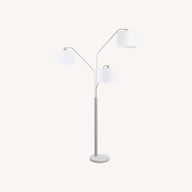 Floor Lamp In Satin Nickel Finish W/ Drum Shades - image-3