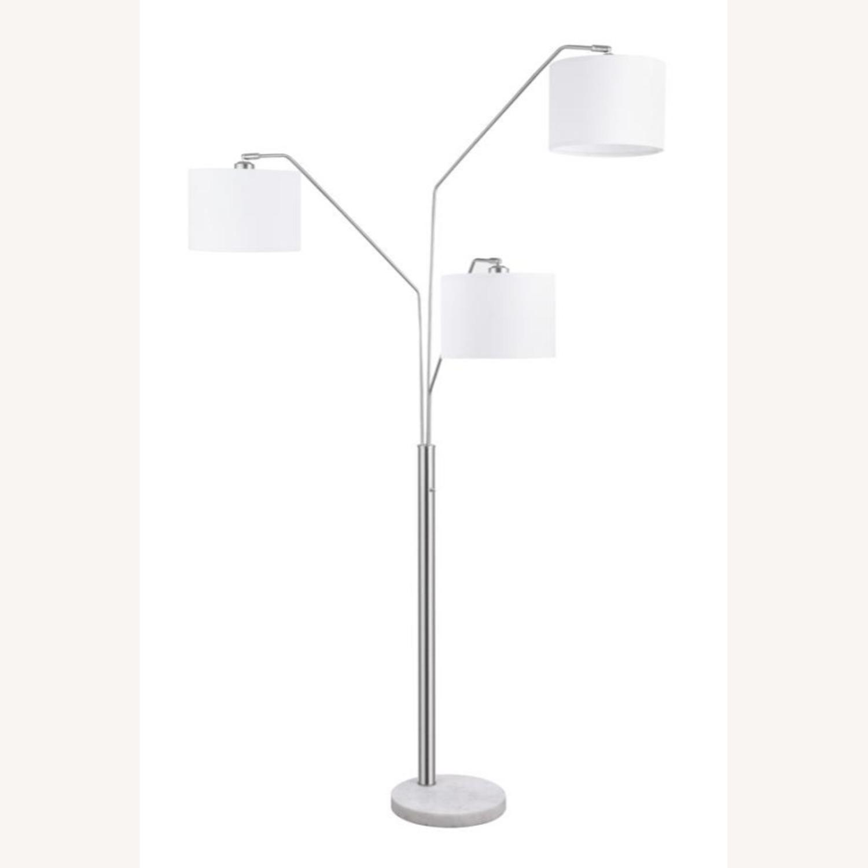 Floor Lamp In Satin Nickel Finish W/ Drum Shades - image-1