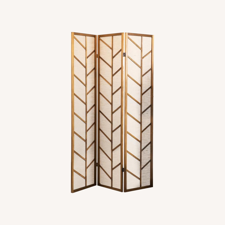 Three Panel Screen In Walnut/Linen Finish - image-3