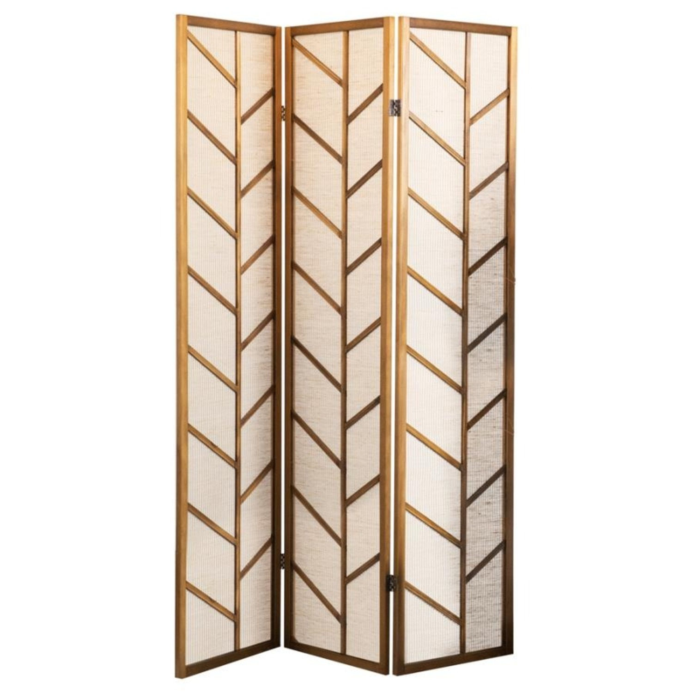 Three Panel Screen In Walnut/Linen Finish - image-1