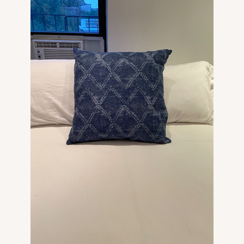 Handmade Indigo Blue Shibori Pillow - image-2