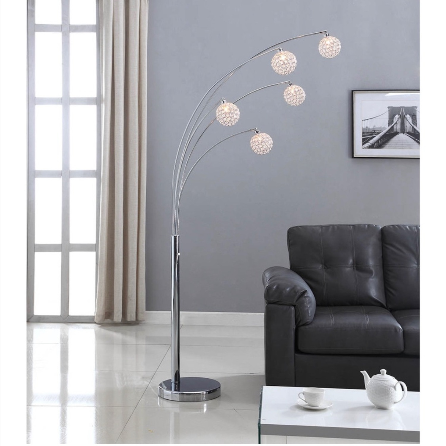 Crystal Ball Floorlamp with Dimmer - image-1