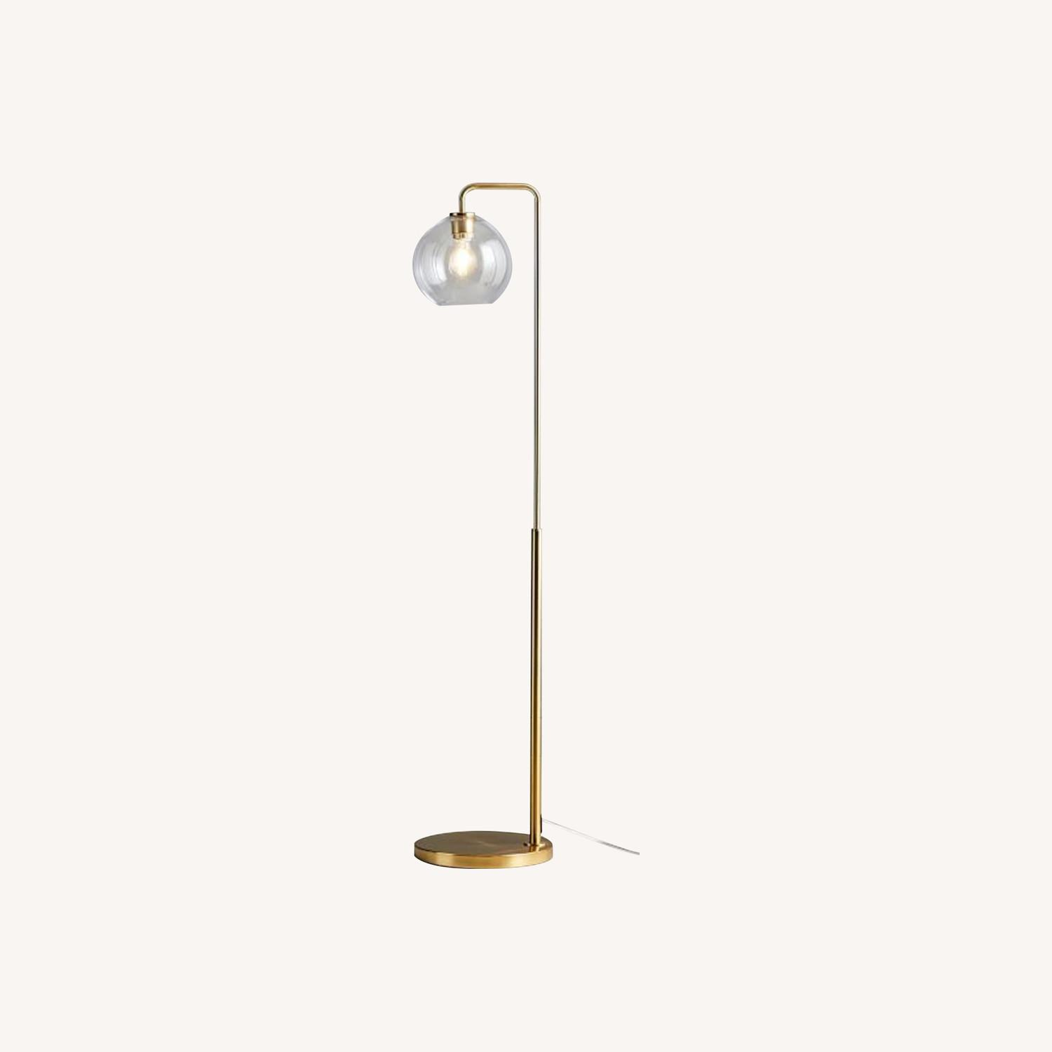 West Elm Sculptural Glass Globe Floor Lamp - Clear - image-0