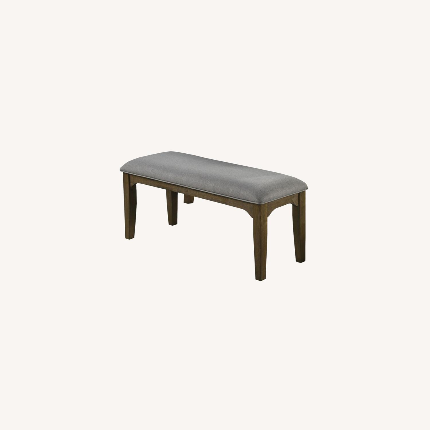 Bench In Asian Hardwood & Grey Fabric Upholstery - image-4