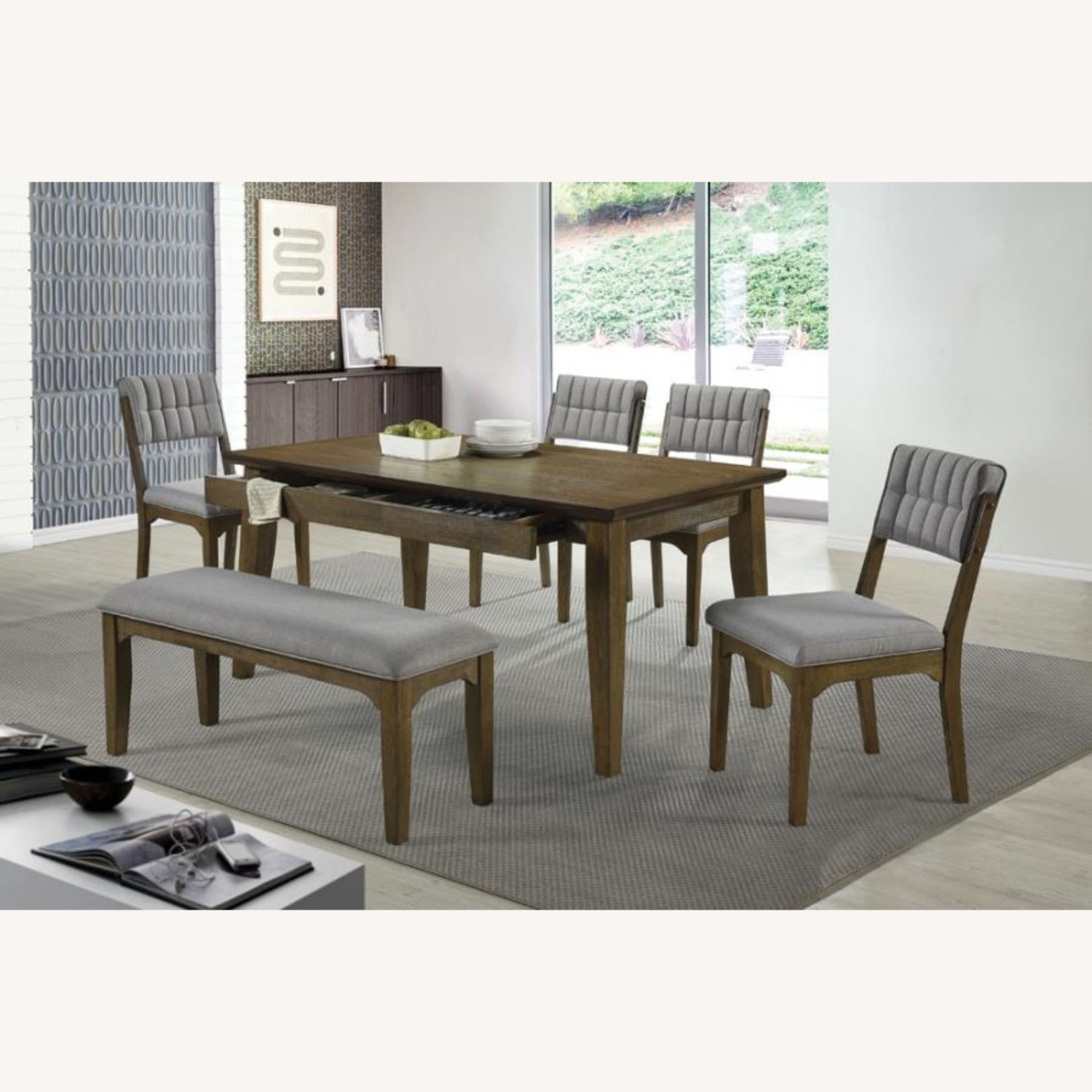 Bench In Asian Hardwood & Grey Fabric Upholstery - image-2
