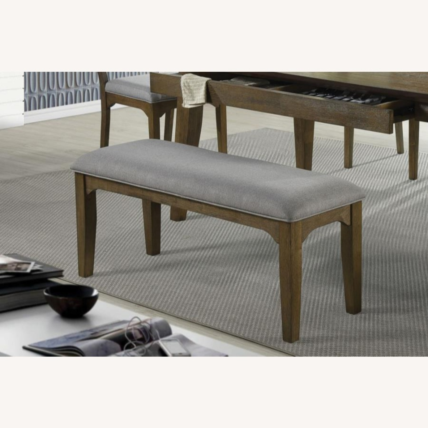 Bench In Asian Hardwood & Grey Fabric Upholstery - image-1