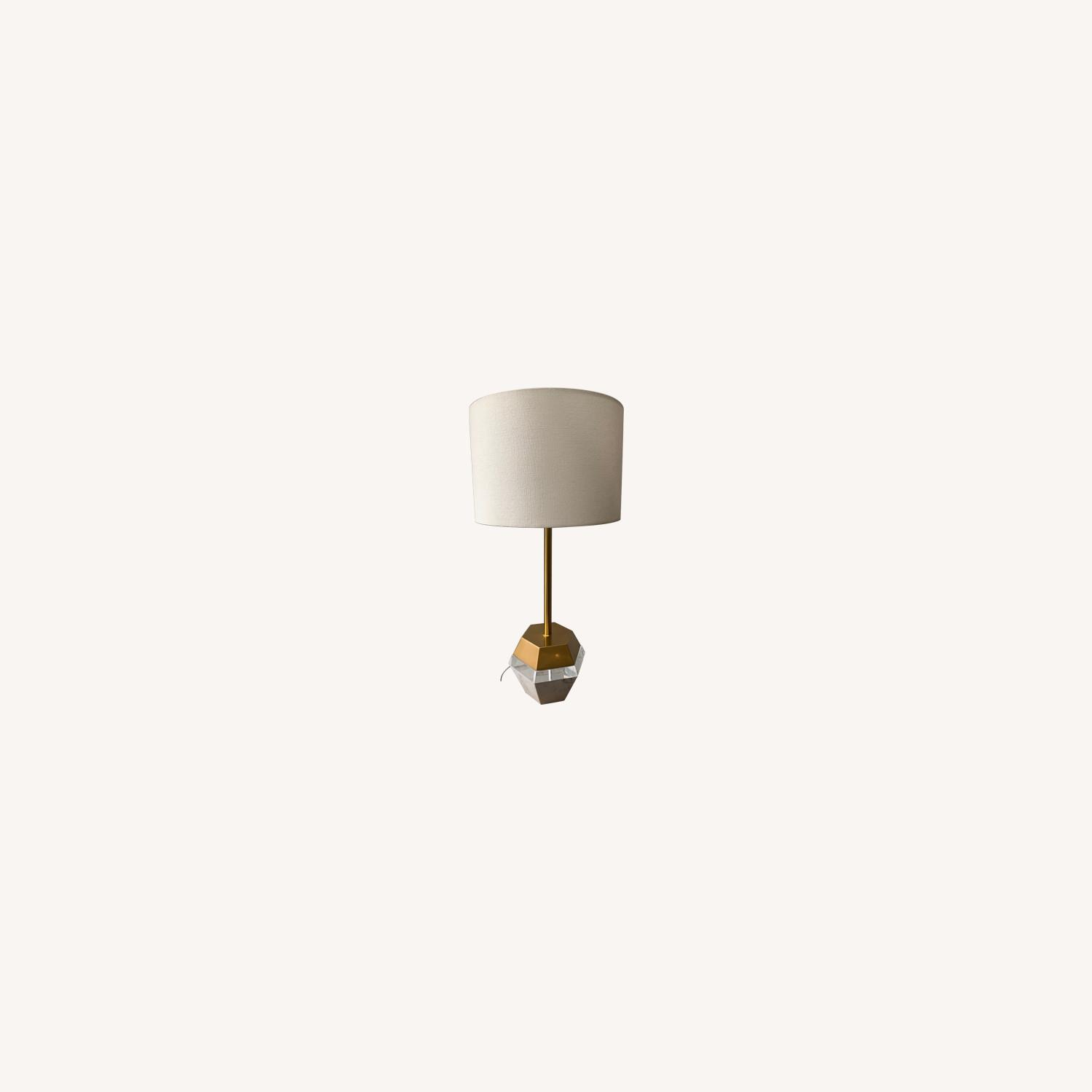 West Elm Marble and Brass Table Lamp - image-0
