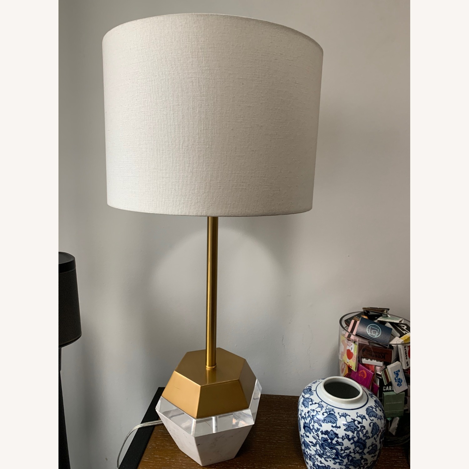 West Elm Marble and Brass Table Lamp - image-1