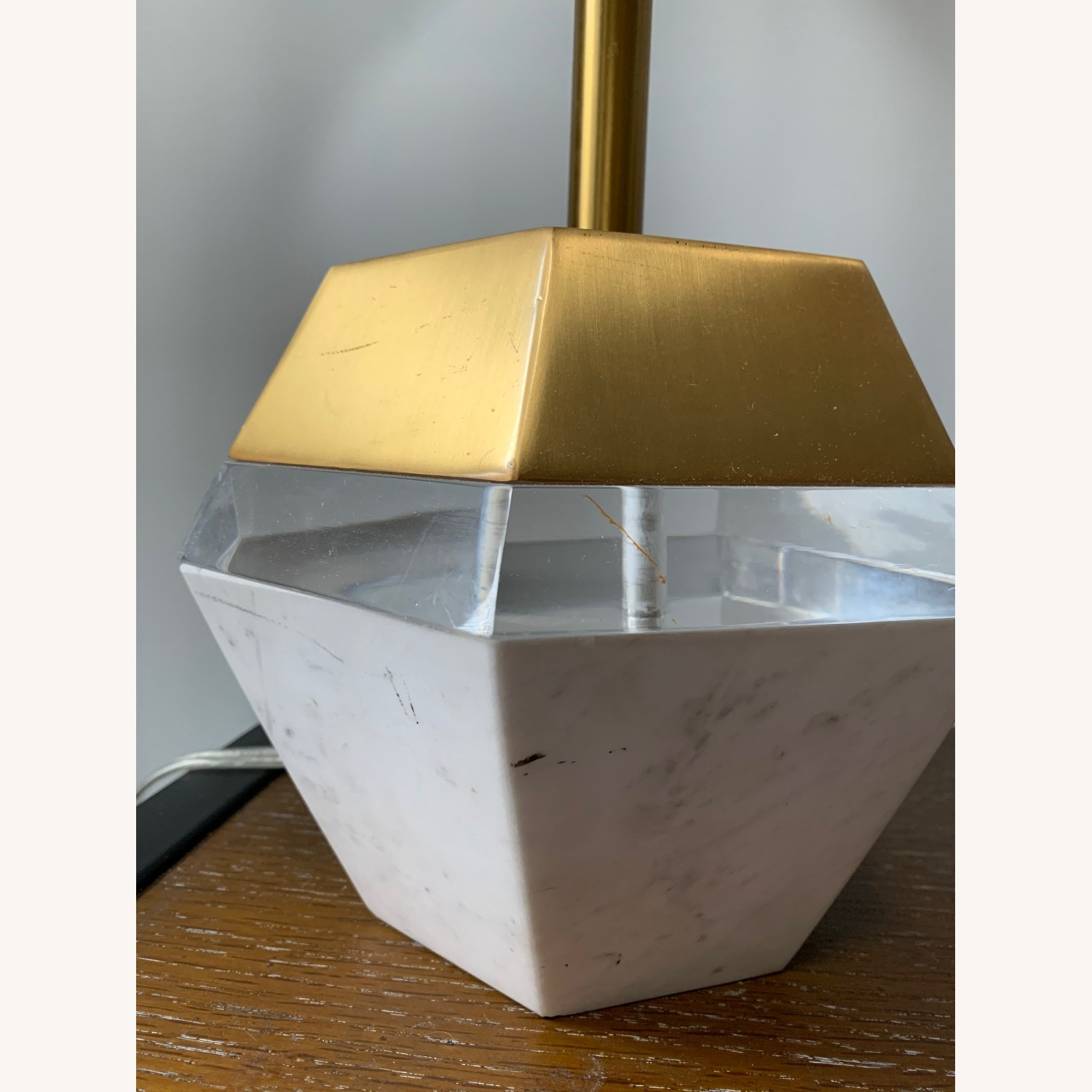 West Elm Marble and Brass Table Lamp - image-4