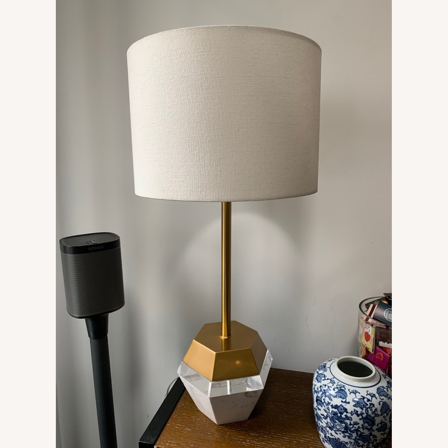 West Elm Marble and Brass Table Lamp - image-2