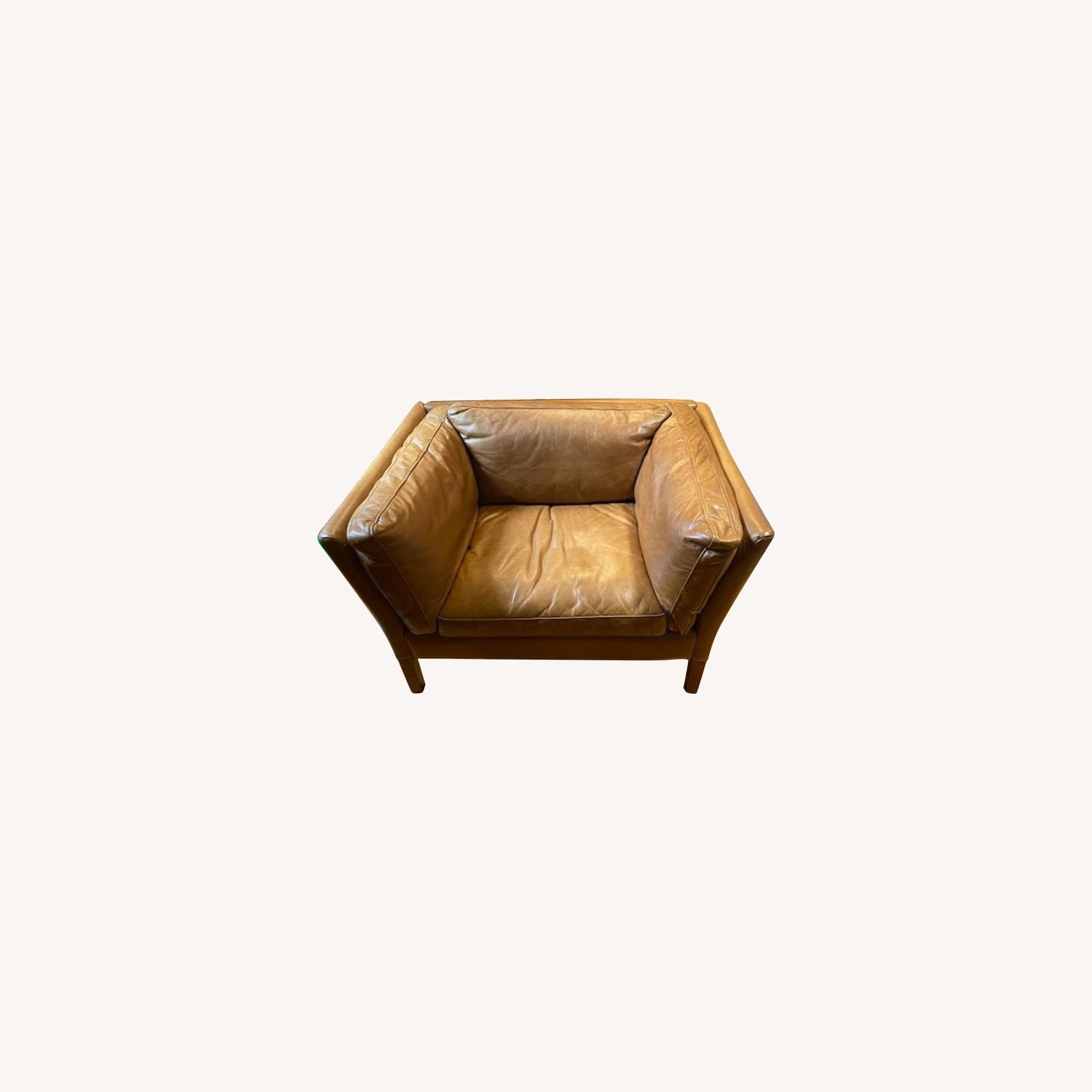 Restoration Hardware Leather Sorensen Chair - image-0