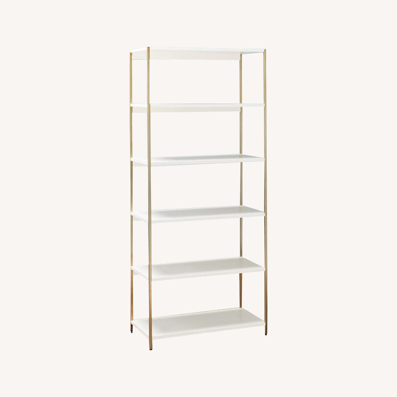 West Elm Zane Wide Bookshelf, White/Antique Brass - image-0