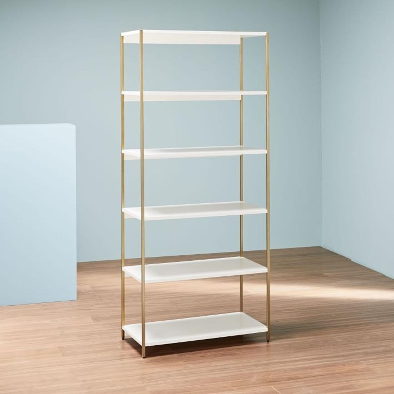 West Elm Zane Wide Bookshelf, White/Antique Brass - image-1