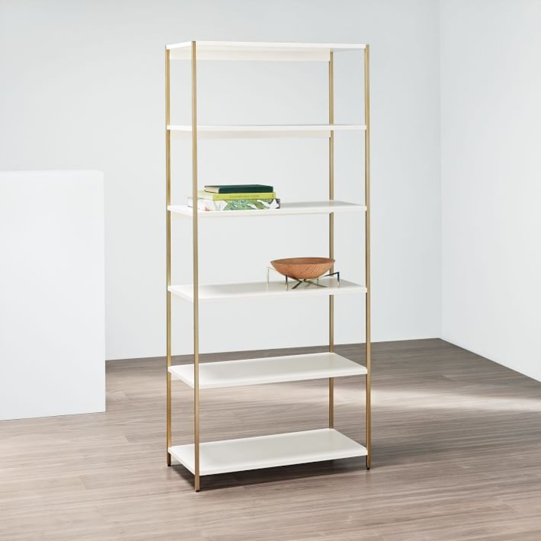 West Elm Zane Wide Bookshelf, White/Antique Brass - image-2