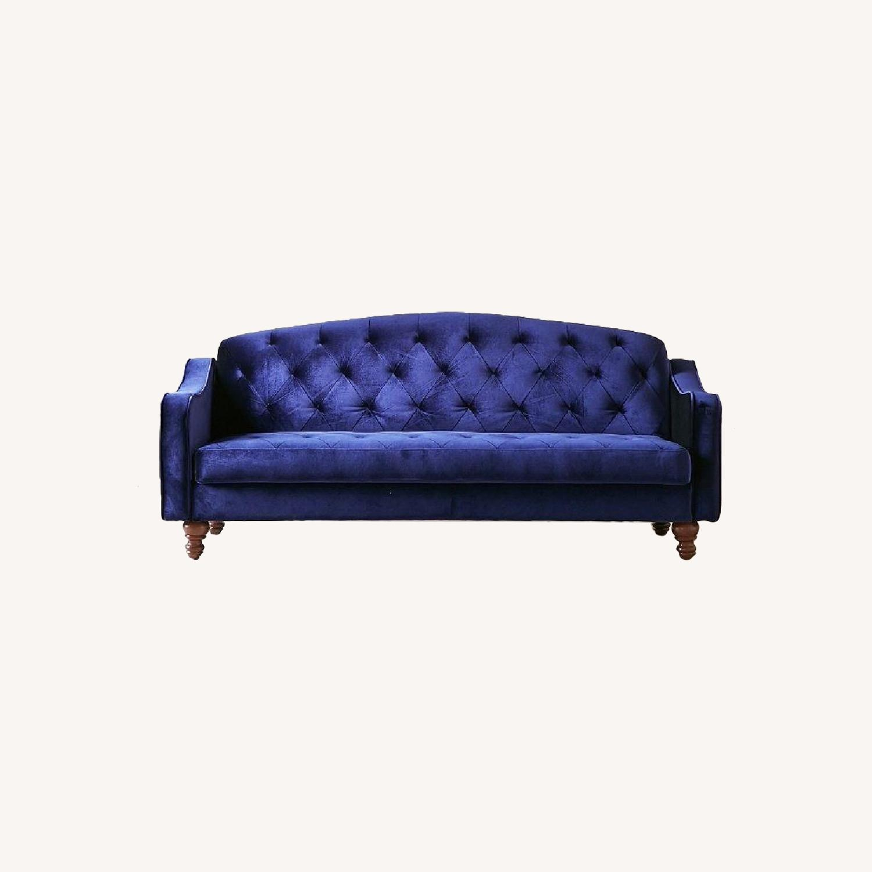 Urban Outfitters Royal Blue Velvet Sleeper Sofa - image-0