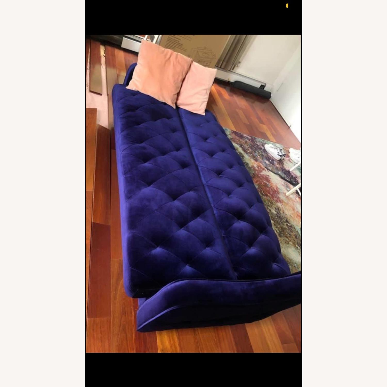 Urban Outfitters Royal Blue Velvet Sleeper Sofa - image-4