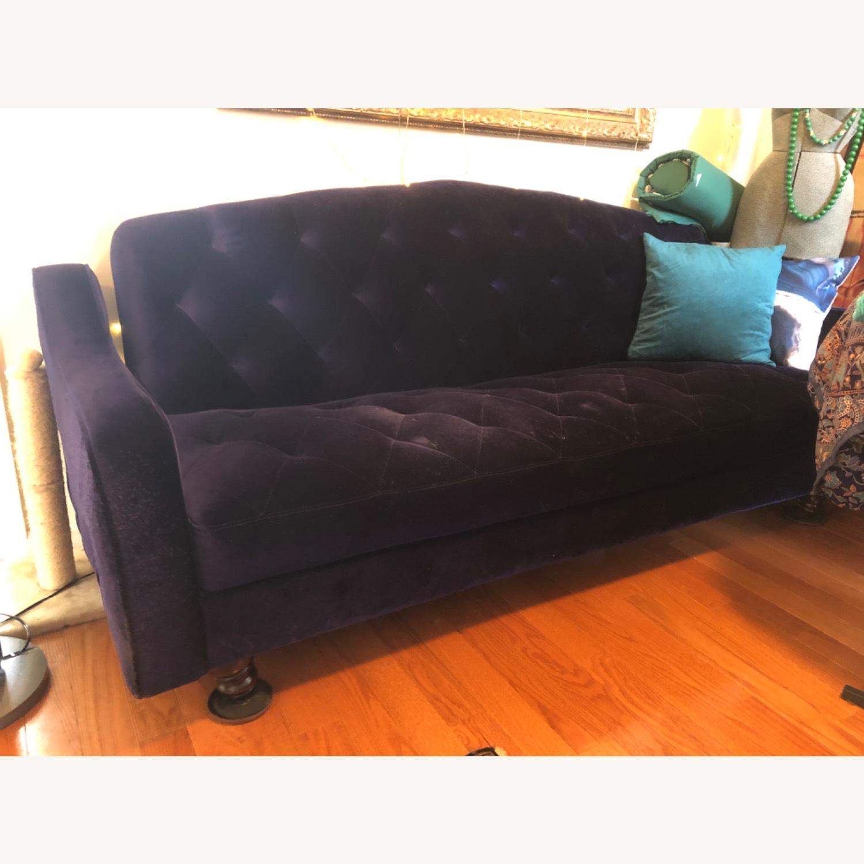 Urban Outfitters Royal Blue Velvet Sleeper Sofa - image-8