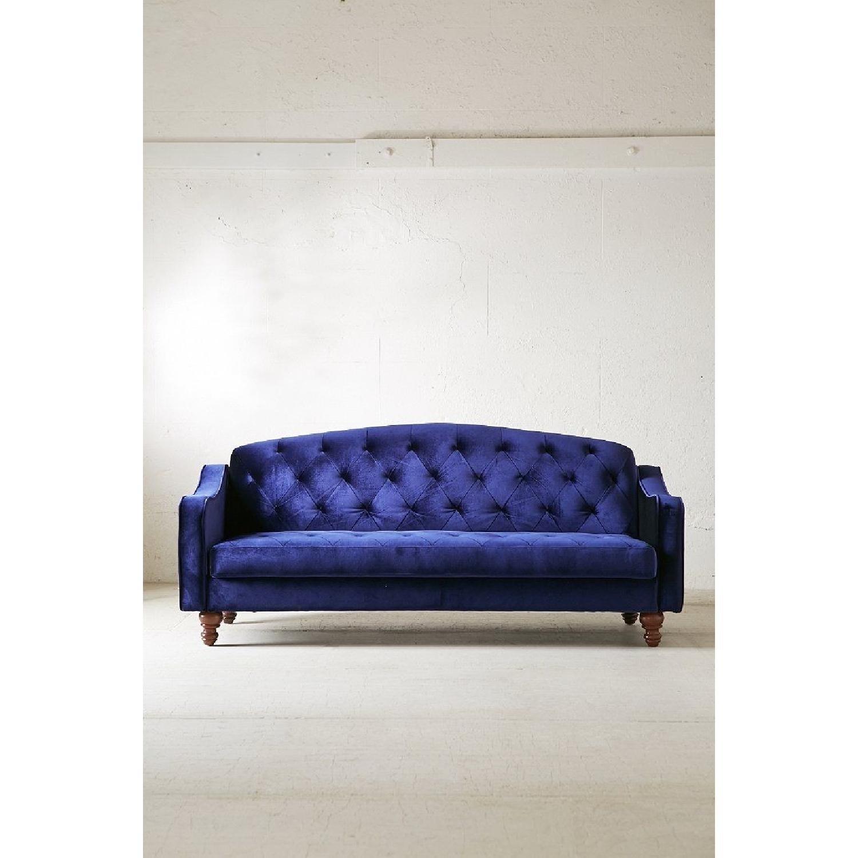 Urban Outfitters Royal Blue Velvet Sleeper Sofa - image-1