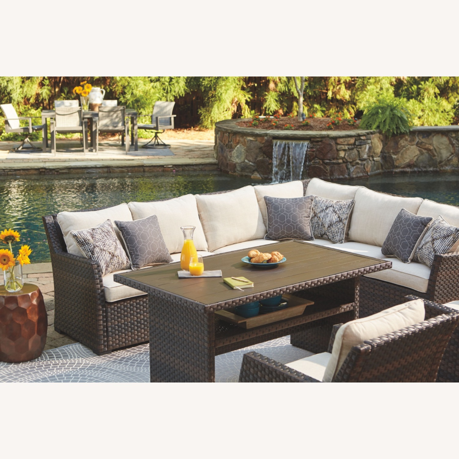 Ashley Furniture Resin Wicker Sectional - image-2