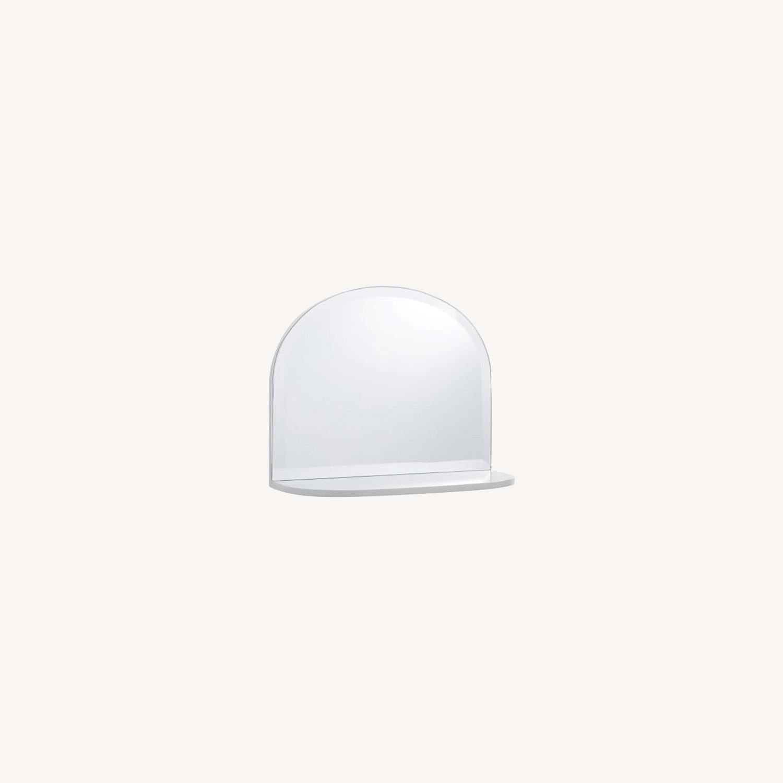 Pottery Barn White Mirrored Display Shelf - image-0