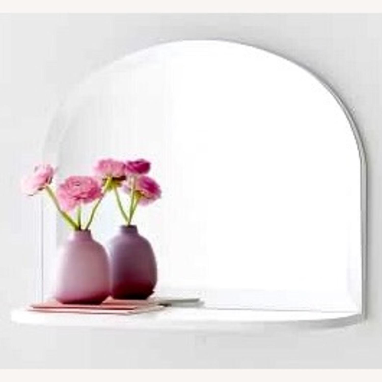 Pottery Barn White Mirrored Display Shelf - image-1