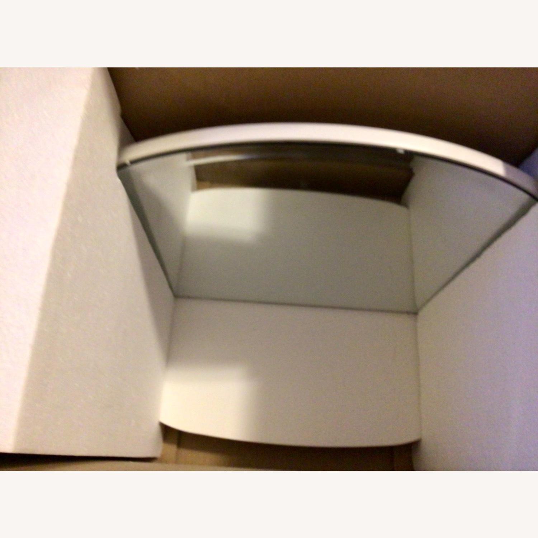 Pottery Barn White Mirrored Display Shelf - image-6