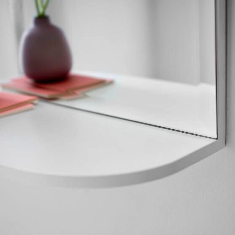 Pottery Barn White Mirrored Display Shelf - image-2