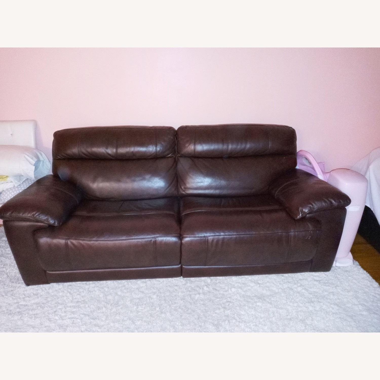 Raymour & Flanigan Reclining Leather Sofa - image-1