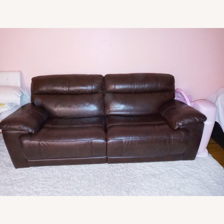 Raymour & Flanigan Reclining Leather Sofa - image-3