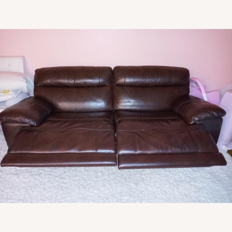 Raymour & Flanigan Reclining Leather Sofa - image-2