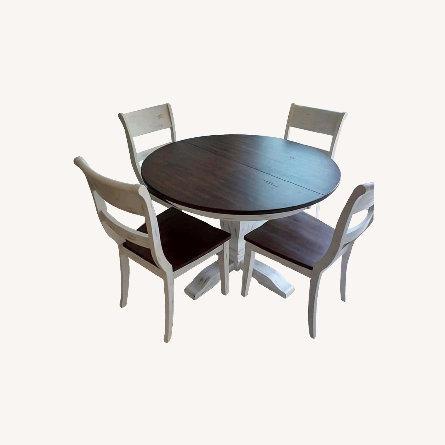 Solid Wood Extension Table with 4 Chairs - image-0
