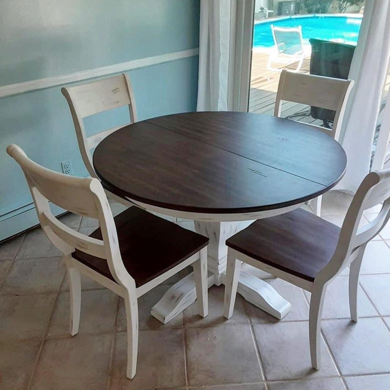 Solid Wood Extension Table with 4 Chairs - image-1