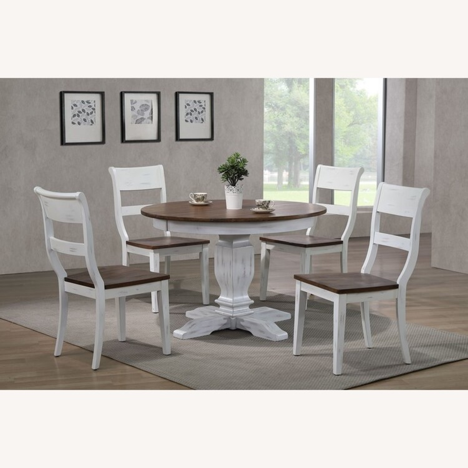 Solid Wood Extension Table with 4 Chairs - image-2