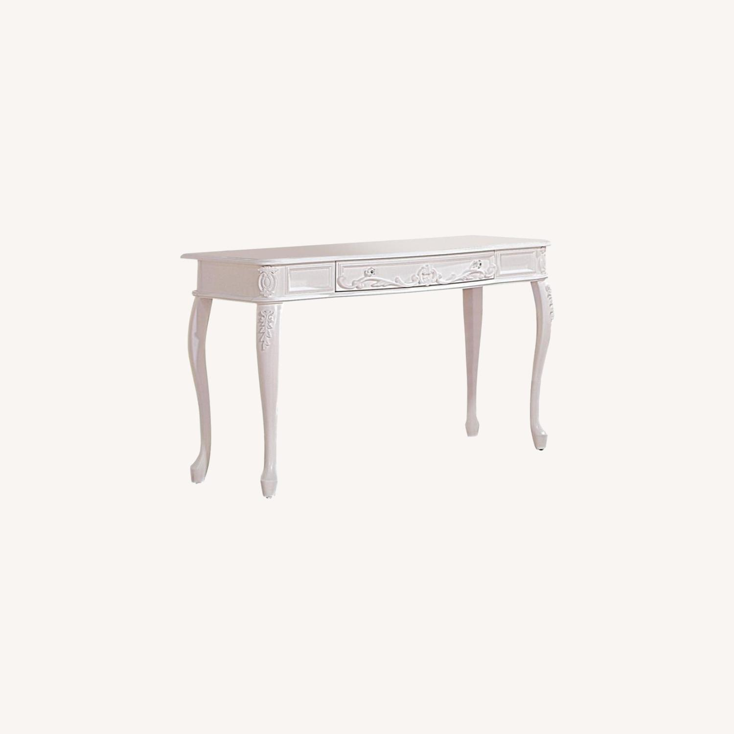 Vanity Desk In White Finish W/ Elegant Details - image-4