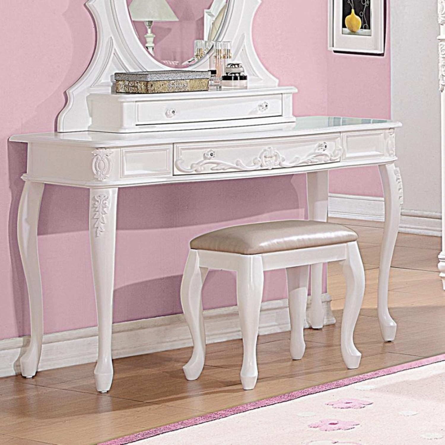 Vanity Desk In White Finish W/ Elegant Details - image-1