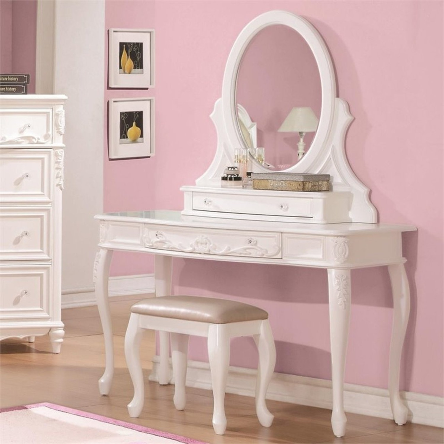 Vanity Desk In White Finish W/ Elegant Details - image-3