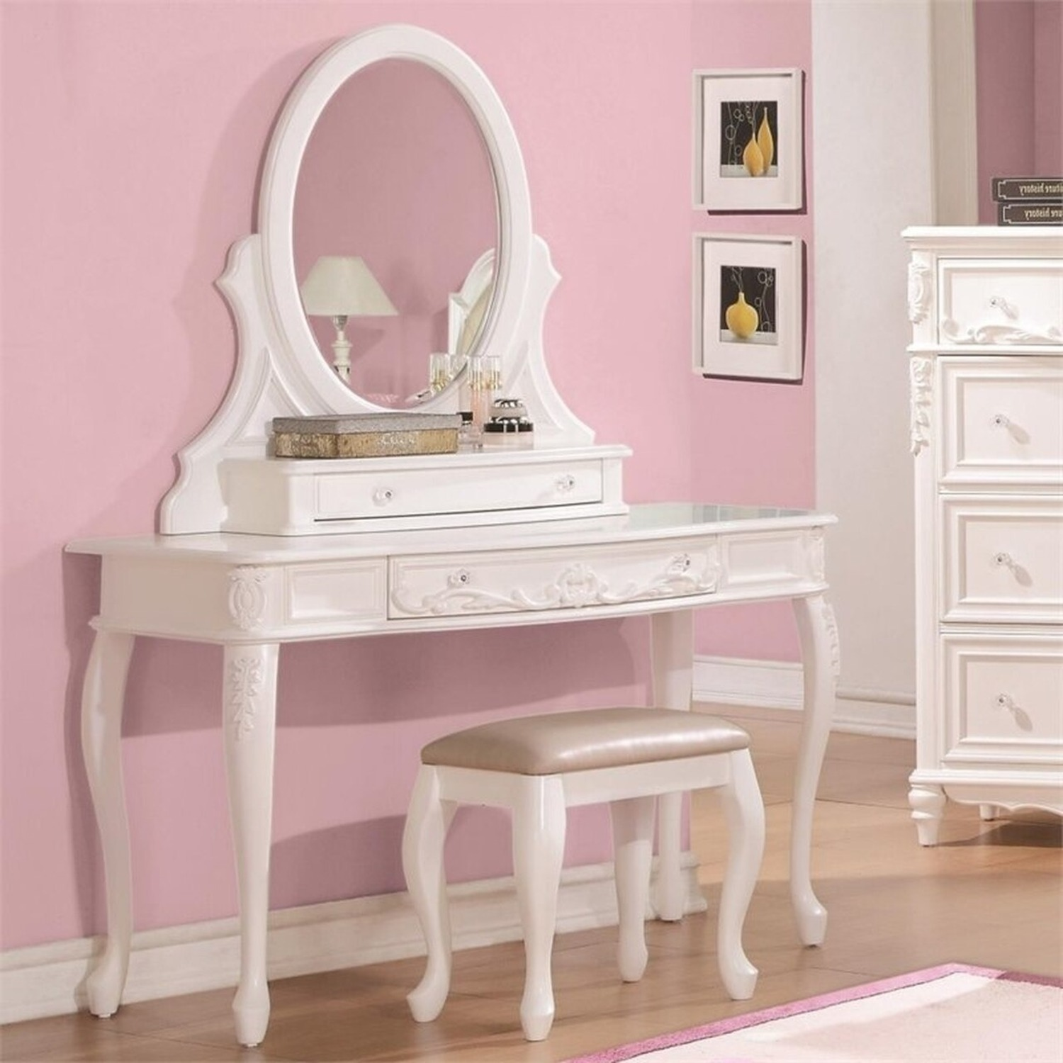 Vanity Desk In White Finish W/ Elegant Details - image-2