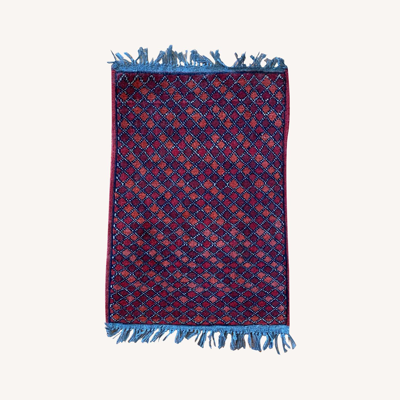 Small Geometric Patterned Afghani Rug - image-0